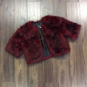 Red and Black Cropped Donna Slayer Faux Fur